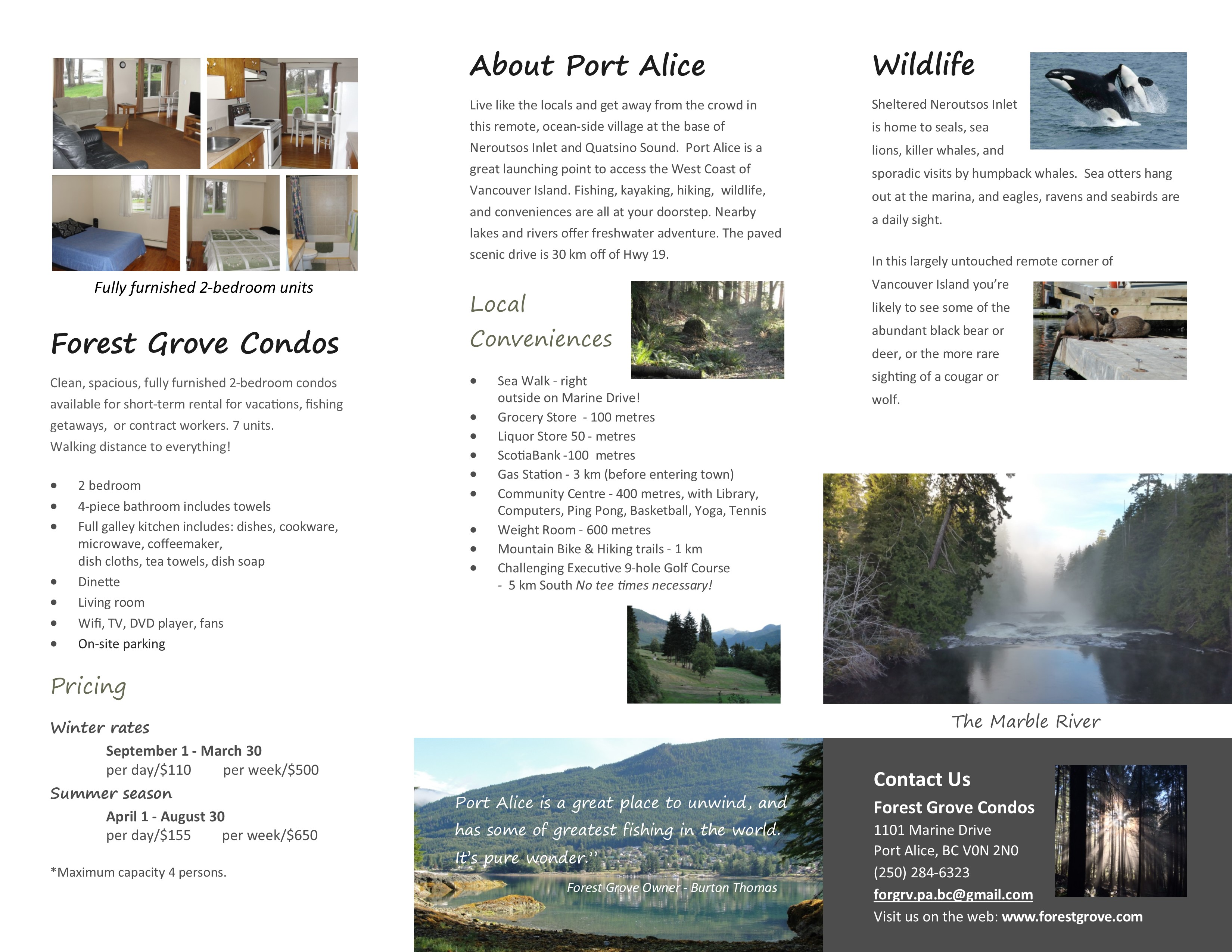 Forest Grove Brochure Inside