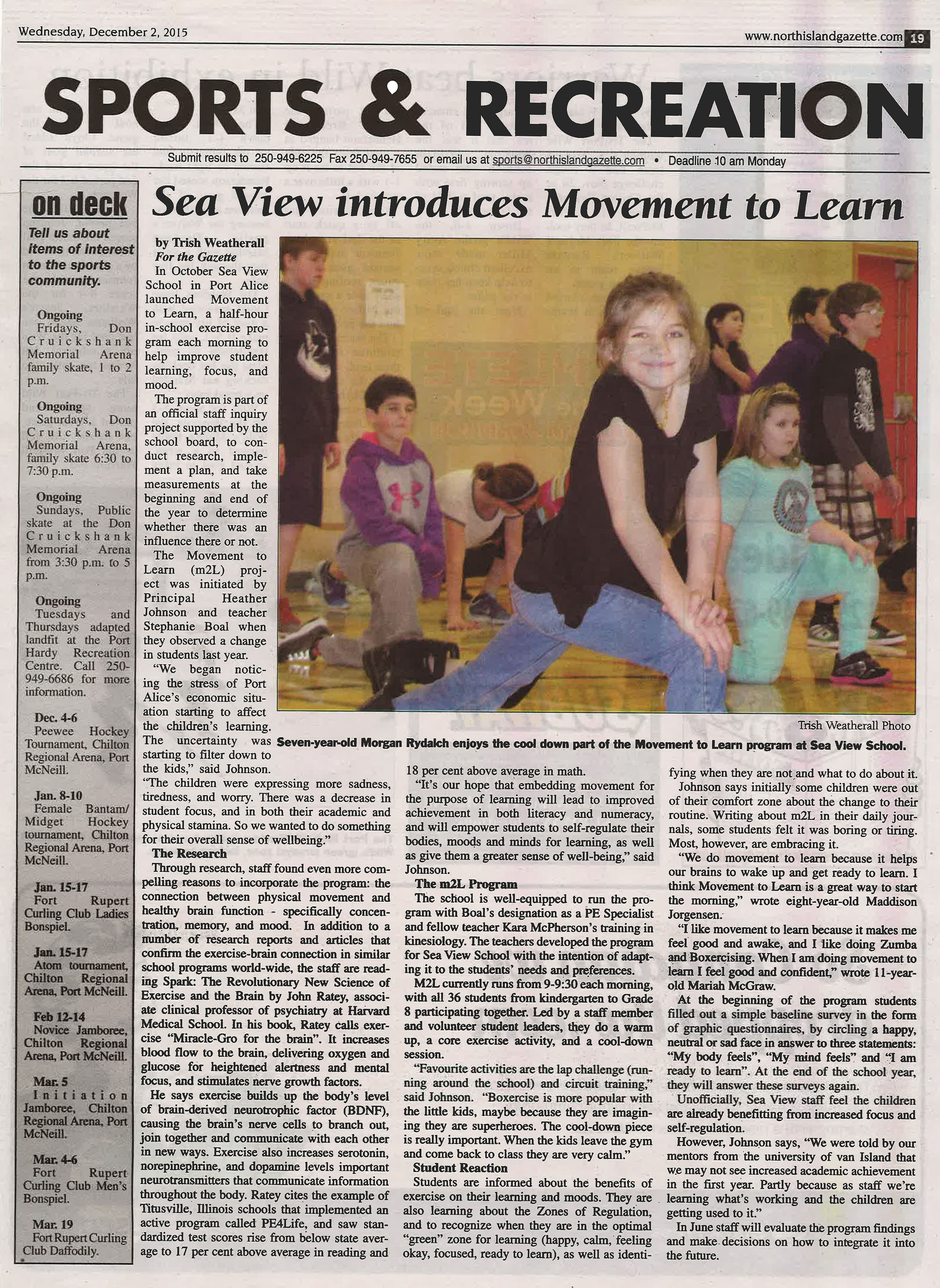 NI Gazette - Sea View Movement to Learn story - 300dpi-Dec 2015