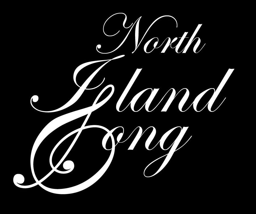 North Island Song - White on Black - 3X2.5 inches